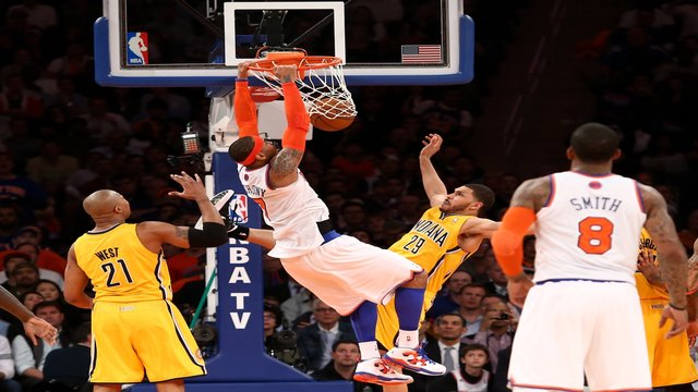 carmelo anthony new york knicks Jeff Pendergraph indiana pacers Carmelo Anthonys Monster Dunk Puts Pacers Big Man Pendergraph On His Back (Video)