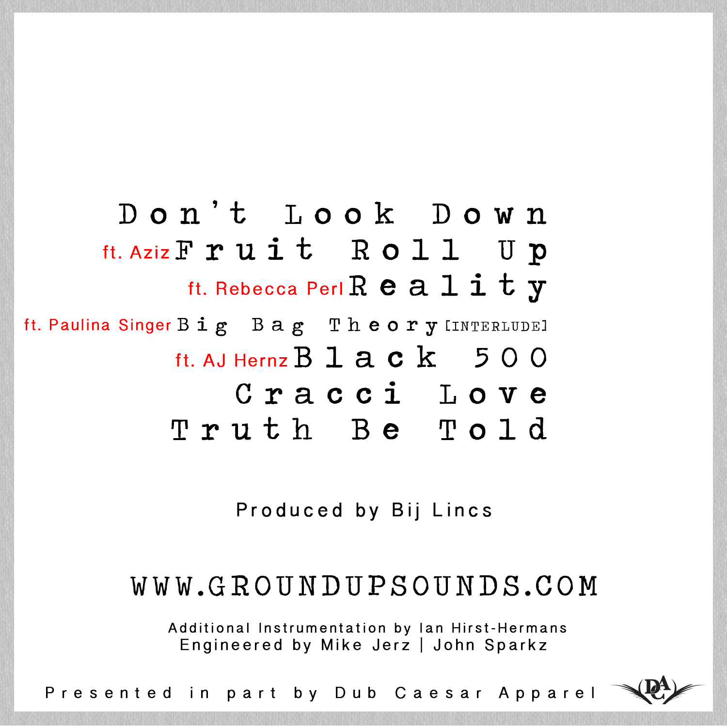 ground up promiseland ep HHS1987 2013 tracklist Ground Up   Promiseland EP