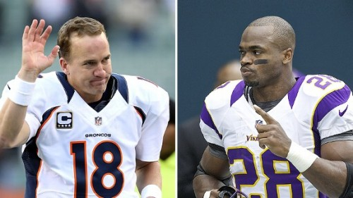 nfl g manning peterson b1 576 500x281 Should The Denver Broncos Trade for Adrian Peterson?
