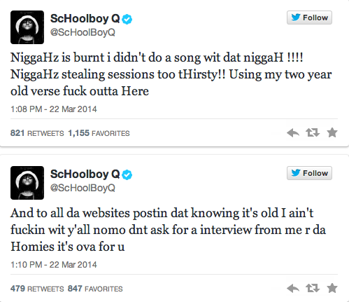 Schoolboy Q Tweets ScHoolboy Q Claims Rapper Stole Two Year Old Verse