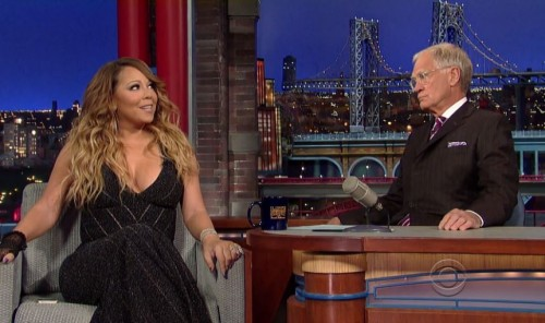 mc letterman 500x296 Mariah Carey Makes A Guest Appearance On David Letterman (Video)