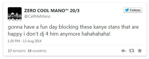 manostwitterrant Kanye West & Tour DJ, Mano Part Ways