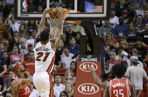 Miami Heat Center Hassan Whiteside Has a Monster Night Putting Up 25 Points & 15 Boards Against Houston